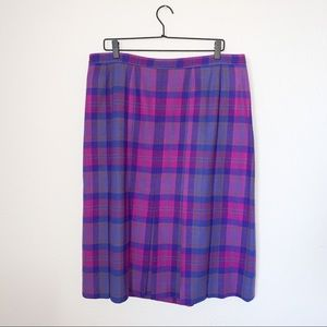 Pendleton pink+purple+blue plaid midi length skirt